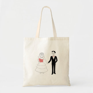Bride and groom holding hands cartoon tote bag