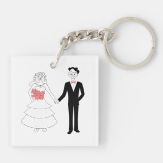 Bride and groom holding hands cartoon square acrylic keychains