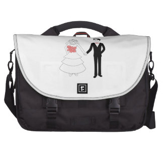 Bride and groom holding hands cartoon commuter bags