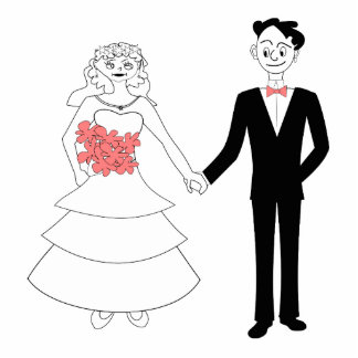 Bride and groom holding hands cartoon photo cut outs