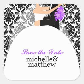 Bride and Groom Illustration Wedding Square Sticker