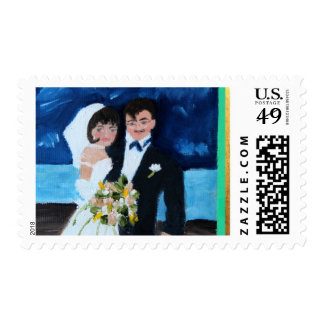 Bride and Groom in France Postage