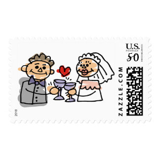 Bride and Groom in Love Wedding Stamps