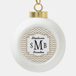 Bride and Groom Initials Sand Chevrons A14 Ceramic Ball Christmas Ornament