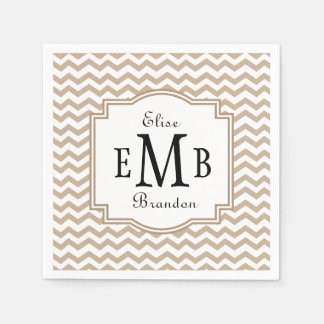 Bride and Groom Initials Sand Chevrons A19 Paper Napkin