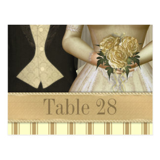 Bride and Groom ivory Wedding Table Number Post Card