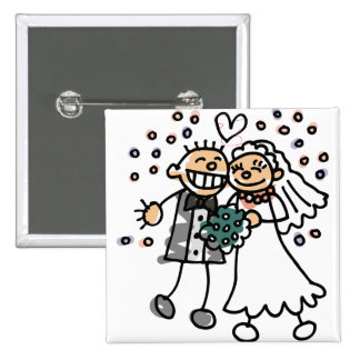 Bride and Groom Jump for Joy Pinback Button