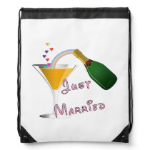 Bride and Groom Just Married Drawstring Bag