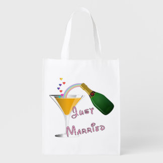 Bride and Groom Just Married Reusable Grocery Bags