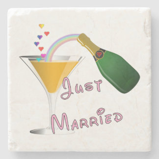 Bride and Groom Just Married Stone Coaster