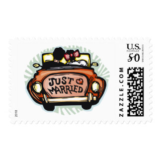 Bride and Groom Just Married Wedding Postage