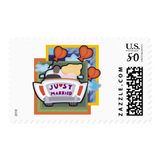 Bride and Groom Just Married with Love and Hearts Postage