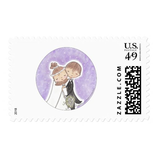 Bride and Groom Kids Postage Stamps