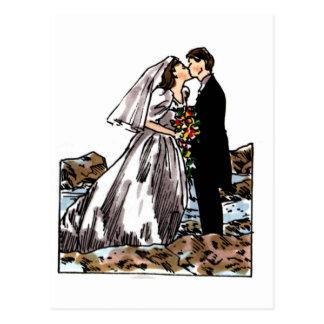 Bride and Groom Kiss on Beach Postcard