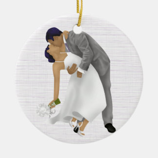 Bride and Groom Kissing Purple Ornament 1