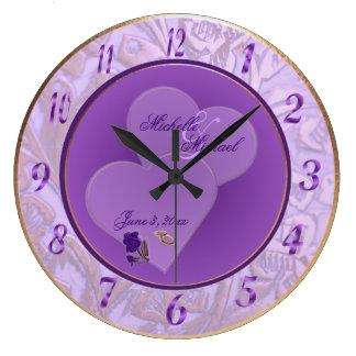 Bride and Groom Lavender Purple Wall Clock #2