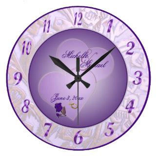Bride and Groom Lavender Purple Wall Clock #3