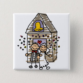 Bride and Groom Leave Church Pinback Button