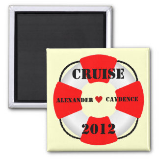 Bride and Groom Life Preserver 2 Inch Square Magnet