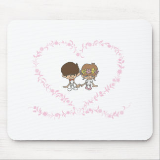 Bride and Groom-Lovers Heart Mouse Pad