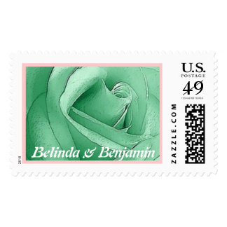 Bride and Groom -Mint Green Rose - Customizable Postage