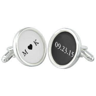 Bride and Groom Monogram - Black White Wedding Cufflinks