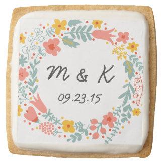 Bride and Groom Monogram - Custom Wedding Floral Square Premium Shortbread Cookie