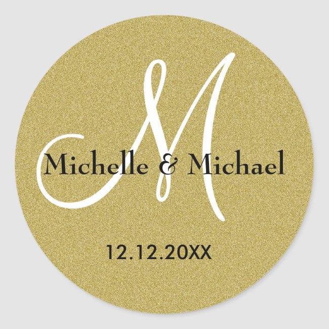 Bride And Groom Monogram Gold Glitter Classic Round Sticker