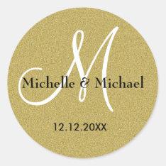 Bride And Groom Monogram Gold Glitter Classic Round Sticker at Zazzle