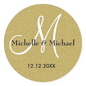 semas87 Bride And Groom Monogram Gold Glitter Classic Round Sticker