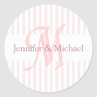 Bride And Groom Monogram Letter M  Seal Classic Round Sticker