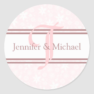 Bride And Groom Monogram Letter T  Seal Classic Round Sticker