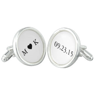 Bride and Groom Monogram - Simple Elegant Wedding Cufflinks