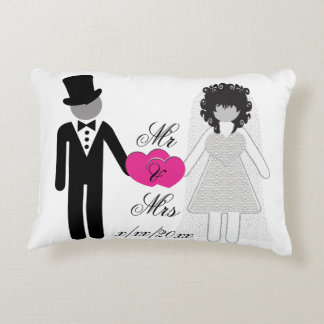 Bride and Groom Mr and Mrs Accent Pillow
