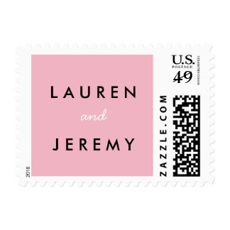 Bride and Groom Name Stamp Pink White Black