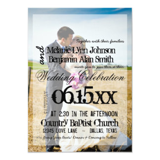 Bride and groom on a field/Wedding Invitation