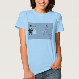 Bride and groom on the life road. Wedding concept Tee Shirt