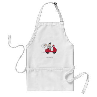 Bride and groom on the red scooter Wedding card Apron