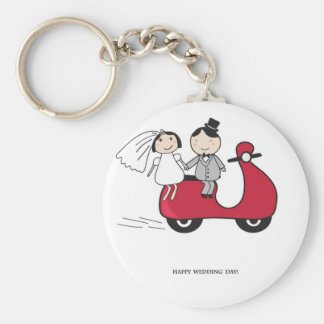 Bride and groom on the red scooter. Wedding card Keychain