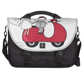Bride and groom on the red scooter. Wedding card Computer Bag