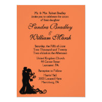 Bride and Groom Orange 6.5x8.75 Paper Invitation Card