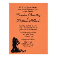 Bride and Groom Orange 6.5x8.75 Paper Invitation Card