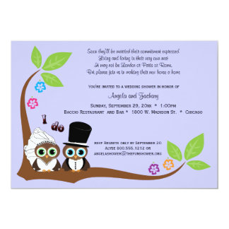 Bride And Groom Owls Lavender Background Shower 5x7 Paper Invitation Card