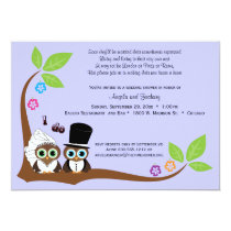 Bride And Groom Owls Lavender Background Shower Card