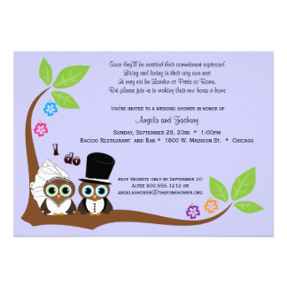 Bride And Groom Owls Lavender Background Shower Custom Announcements