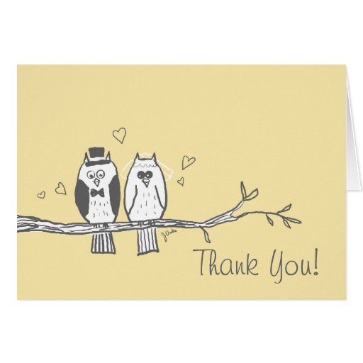 Bride and Groom Owls Thank You Note Greeting Cards