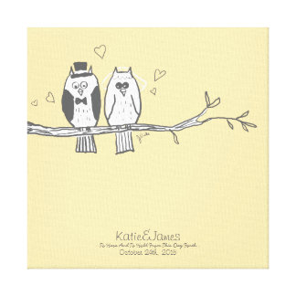 Bride and Groom Owls Wedding Canvas Print