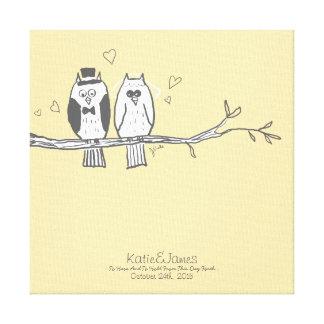 Bride and Groom Owls Wedding Canvas Print