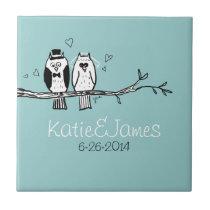 Bride and Groom Owls Wedding Ceramic Tile