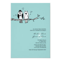 Bride and Groom Owls Wedding Invitation